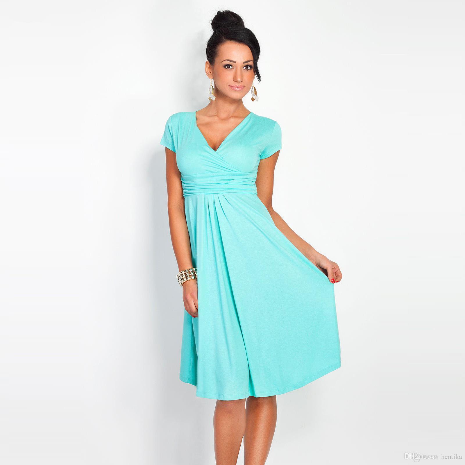 c2ce6583a ... Vestidos de verano delgados V Cuello de manga corta con pliegues Estilo  atractivo es S- ...