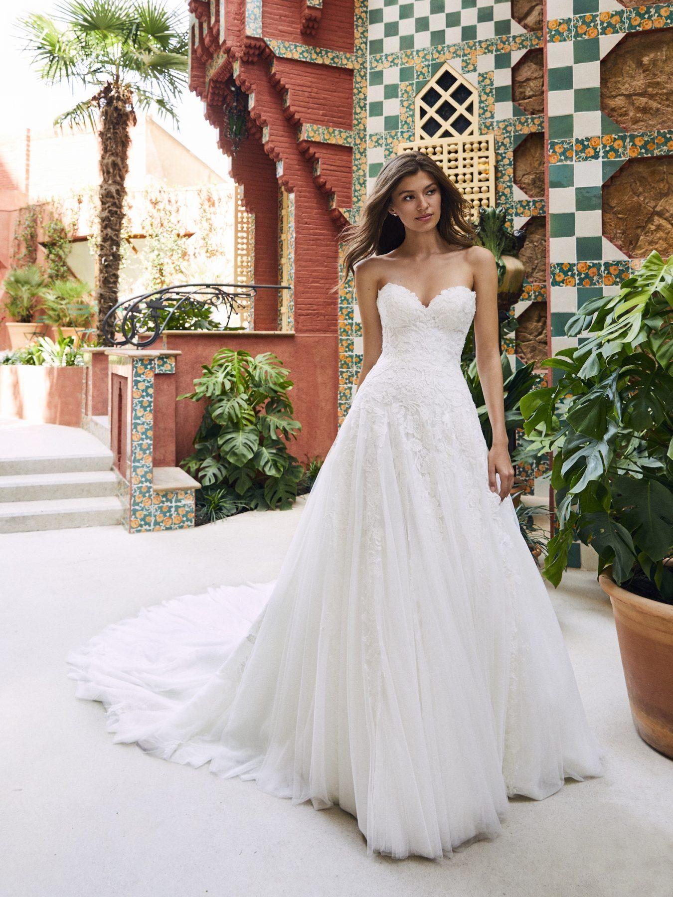 2020 abiti da sposa modesti in pizzo con scollo a cuore coperto con bottoni sul retro eleganti abiti da sposa a-line abiti da sposa economici
