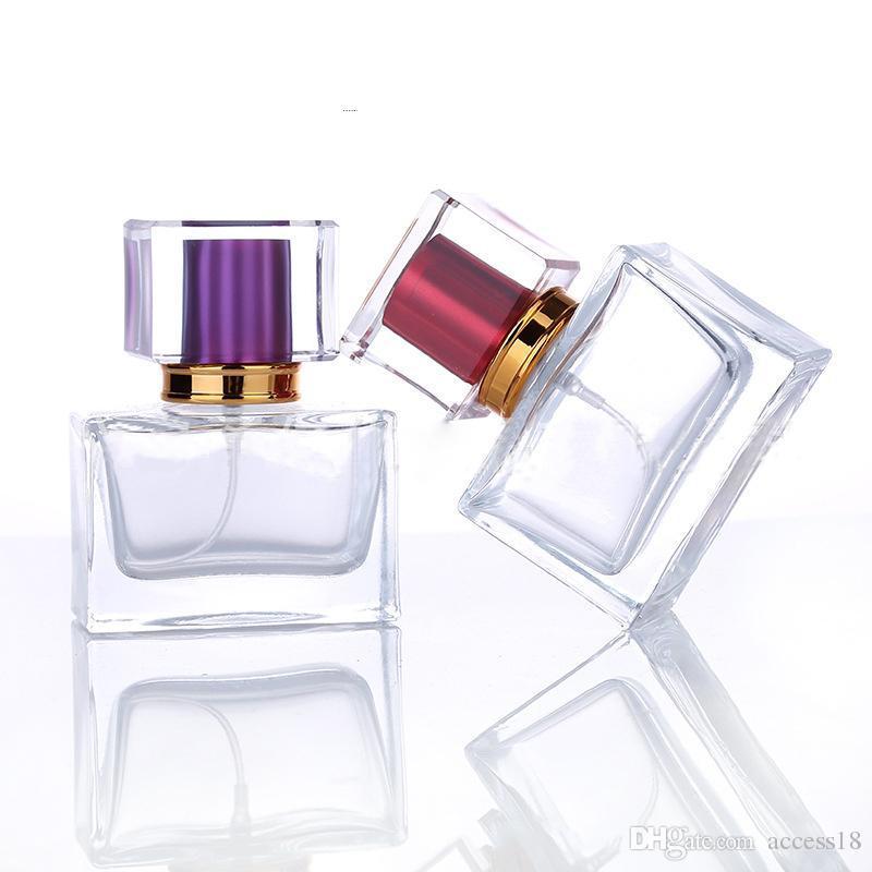 De alto grado 30ML Plaza de cristal del aerosol botella de perfume de cristal de color 5 atomizador de pulverización botellas recargables vacíos envase cosmético para el viaje
