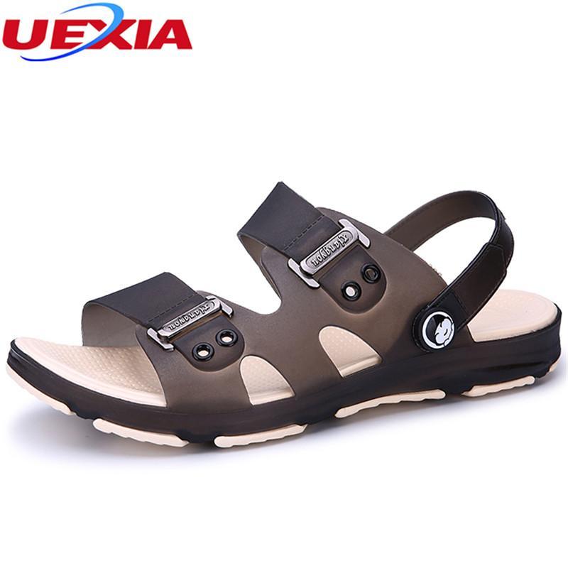 UEXIA Hombres Zapatos de Verano Sandalias Nuevos Hombres Transpirables Iluminados Casual Slip Al Aire Libre En la Playa de Los Hombres Sandalias Diapositivas de Moda de Alta Calidad