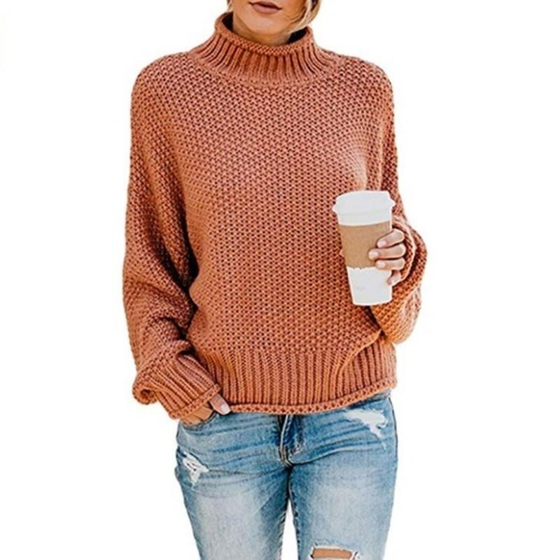 PEONFLY 2019 Autumn Winter Women Pullovers Sweater Knitted Elasticity Casual Jumper Fashion Loose Turtleneck Warm Female Sweater