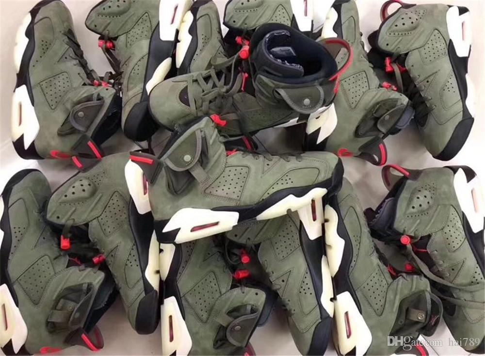 Con caja de calidad superior New 6 Medium Olive green low zapatillas de baloncesto para hombre 6s VI zapatillas deportivas entrenadores talla para exteriores 7-13