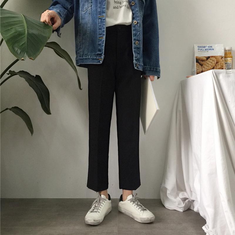 Мужские брюки, чувствуя прямые брюки без каких-либо бессмысленных брюк для женщин Xia Kuansong Student Chic Chic Time Time Share Neg All-Match девять части