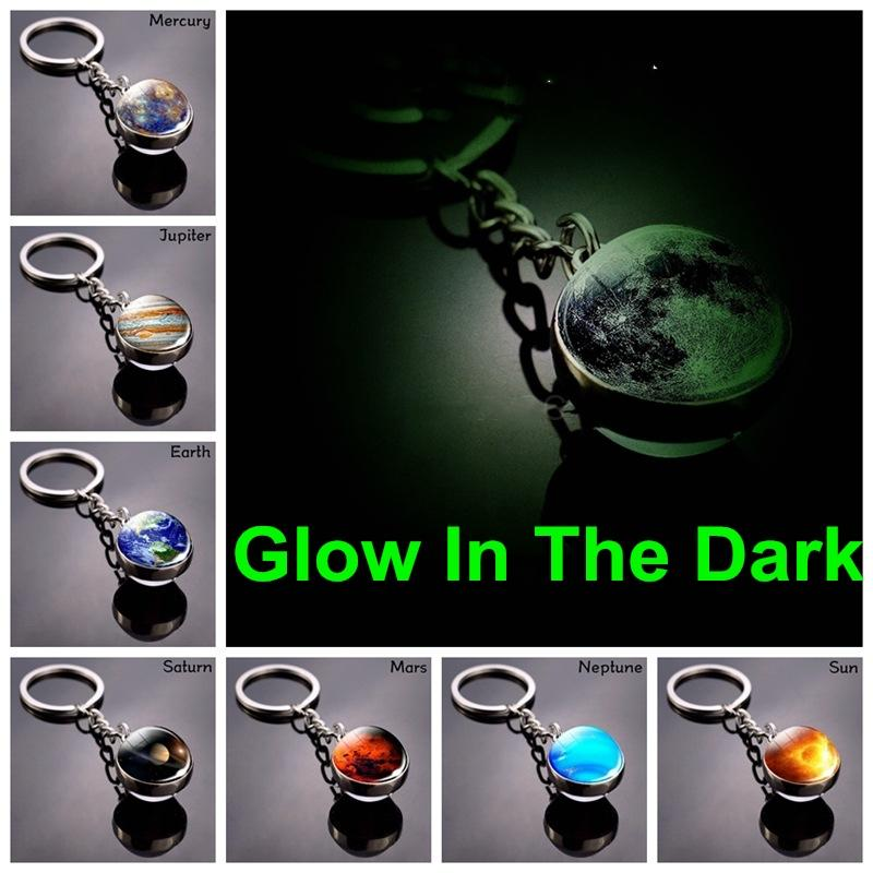 توهج في الظلام الحلي النظام الشمسي كوكب أقراط غالاكسي سديم مضيئة القمر الأرض الشمس ضعف الجانب زجاج الكرة مفتاح سلسلة مجوهرات خواتم