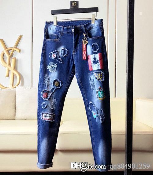 mens shorts concepteur jeans designer qualité luxe hommes Designer Jeans Slim Patch peinture Petits Pieds Locomotive Hommes Jeans Taille 28-39