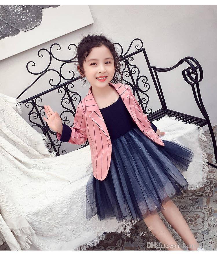 Mode filles costume vestes étrangères princesse grands enfants automne nouveaux vêtements pour enfants filles rayées costumes de couleur unie