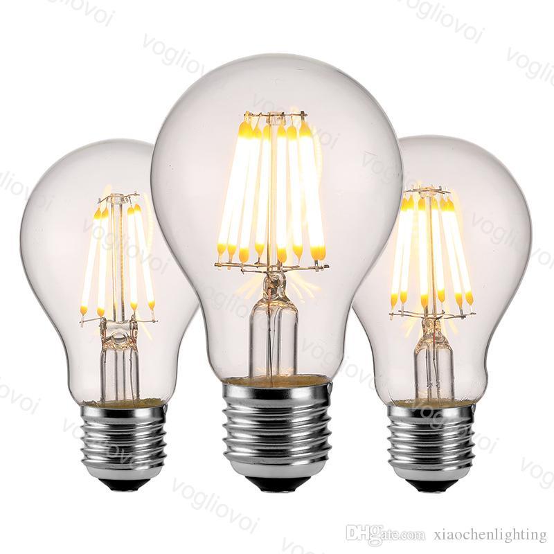 LED Ampuller A60 Yok Dim AC95-265V Filament Mum 4 W 6 W 8 W E27 Edison Retro Enerji Tasarruf Kristal Avizeler Kolye Zemin Masa Işıkları DHL
