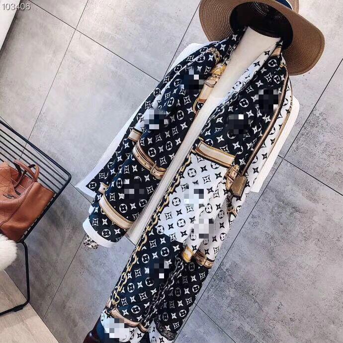 Protector solar bastante impresión otoño bufanda de seda de la marca Tide caliente mujeres vara letra de la manera bufanda de anillo de cuello largo y alto quality180X90cm