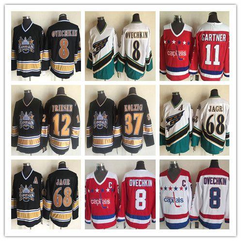 Alex Ovechkin Jerseys 1990 Vintage Washington Capitals 37 Kolzig 12 Jeff Friesen 68 Jaromir Jagr CCM Classic Hockey مخيط أحمر أبيض أسود