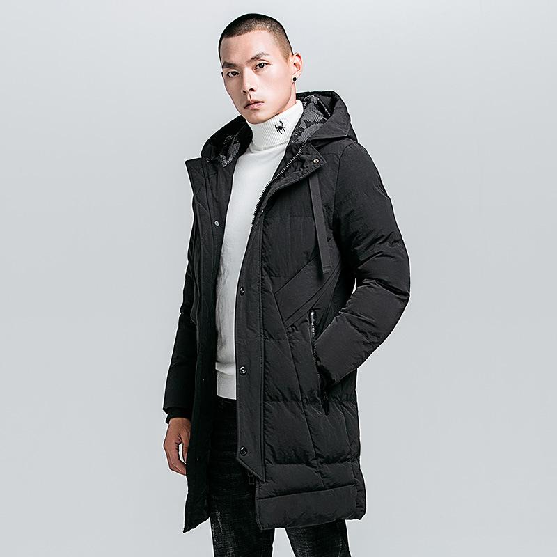 2018Winter Long Warm Bio Down Fur Hat Jacket Parkas Coat Men Brand New Casual Hooded Thick Warm Outwear Parkas Trench Coat Men