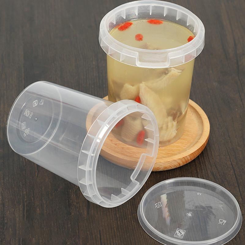 HARDIRON Einweg-Packaged Cup Sealed Leakproof Abdeckung zum Mitnehmen tragbaren Haushalt Lunch Box Mikrowelle Runde Suppe Barrel T200507