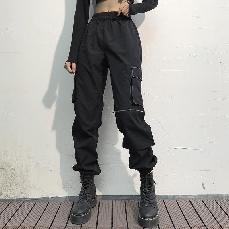 womens linea brillante stilista strada elegante grande tasca con cerniera unilaterale tute le donne
