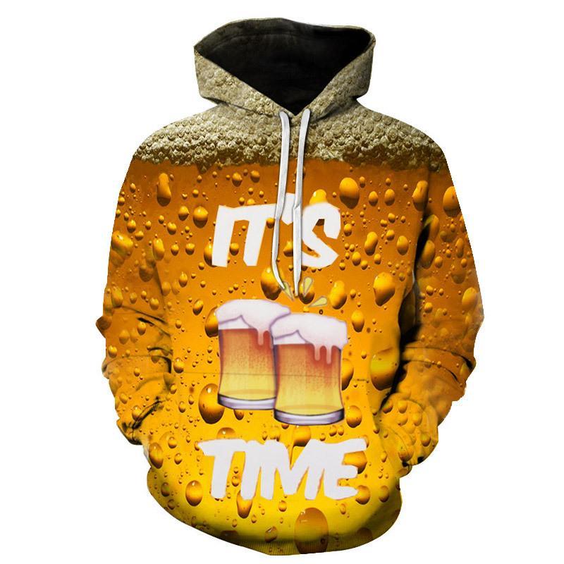 2018 nouvelle mode bière jaune Hoodies Hot Hoody 3d Imprimer Hommes Femmes Sweat à capuche taille asiatique-6XL expédition sur mesure Drop