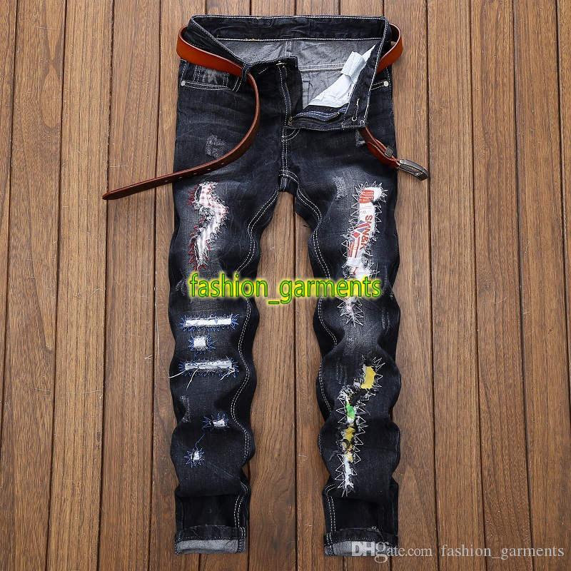 Nuevas camisas de los pantalones vaqueros de los hombres agujero Patch manera derecho de la personalidad marea para hombre de los pantalones vaqueros de moda estilista pantalones azul marino de verano