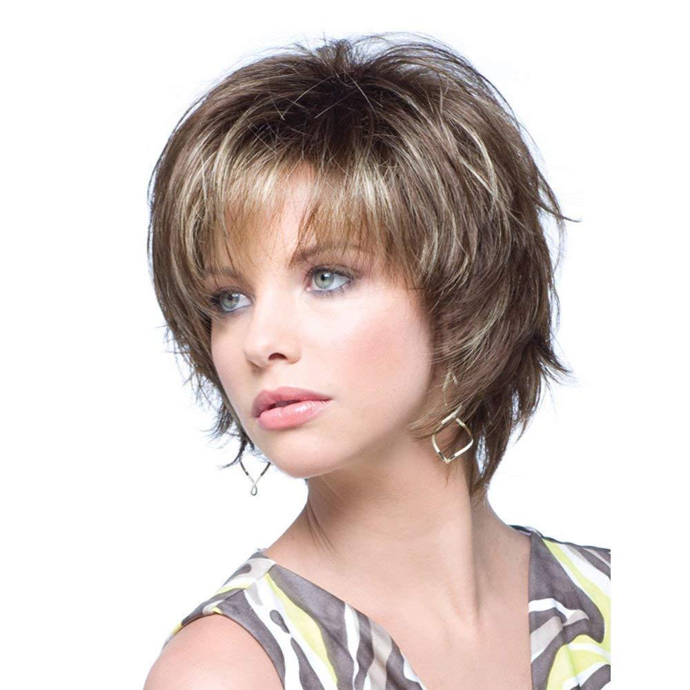 Kurze Perücken mit Bangs Mixed Brown synthetischen Haar-Perücken für weiße Frauen natürlich aussehender Mode voller Perücke