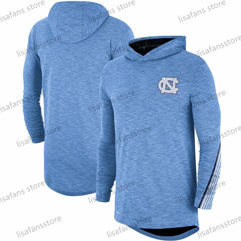 Kuzey Carolina Tar Heels Carolina Mavi 2019 Sideline Uzun Kol Kapşonlu Performans Üst Tee Baskılı Takım Renk Koleji Tişörtler Boyut S-4XL