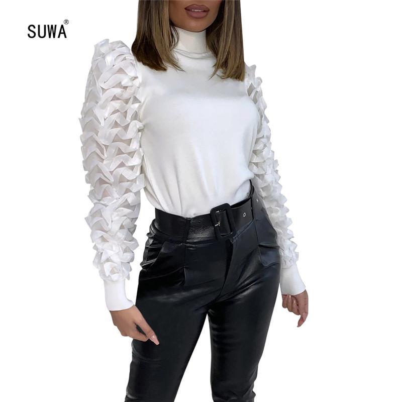 Simple Style Street Frauen Stehkragen volle Hülsen-Pullover T-Shirt Großhandelsbüro-Dame des neuen Entwurfs Ruch Sleeve Tee Top T200525
