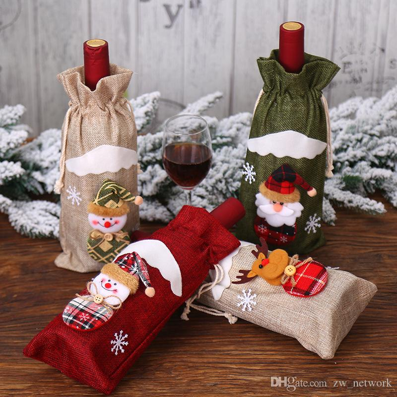 أرخص عيد الميلاد النبيذ زجاجة كم الكتان النبيذ زجاجة غطاء الإبداعية أدوات المائدة الديكورات ل فندق سانتا كلوز ثلج عيد الميلاد الديكورات