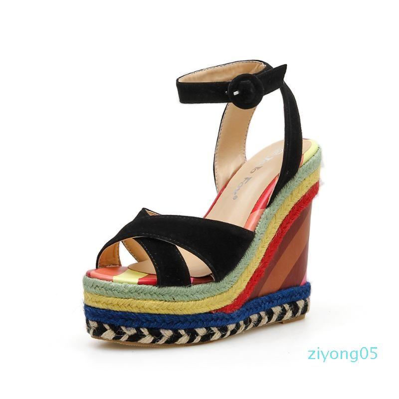 Scarpe Arcobaleno Sandali Zeppe per le donne Z05