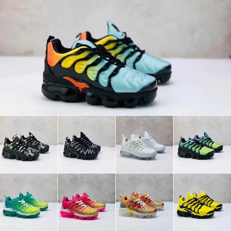 Nike Air TN Plus Eğitmenler Size24-35 requin enfant Nefes Yumuşak Spor Chaussures Erkekler Kızlar TNS Artı Sneakers Gençlik tn Ayakkabı Koşu TN 2020 Çocuk