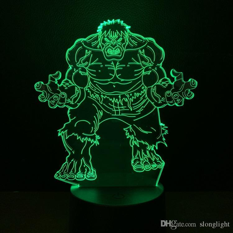 Cool Marvel The Hulk Deadpool 3D LED Lamp Night Light Multicolor RGB Bulb Christmas Decor Kids Gift Toys