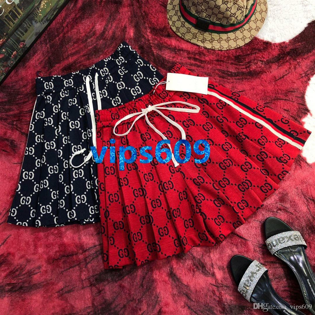 High end women girls Skirt Jacquard Stripe Letter Print Elastic Waistband With Drawstring High Quality Skirts women fashion skirts
