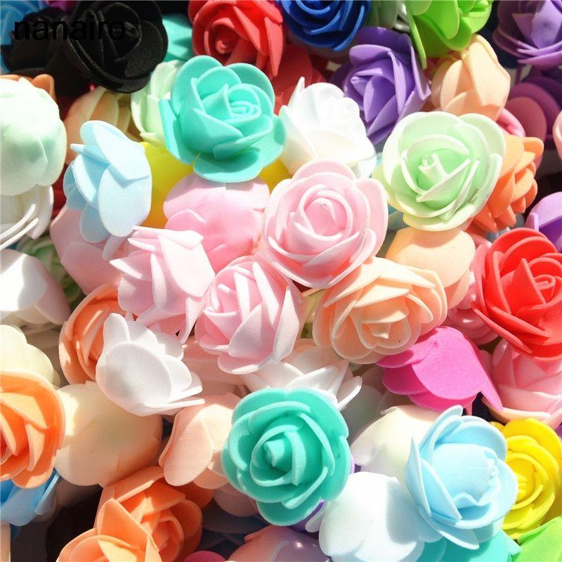 100pcs / lot Mini Pe Foam Flower Head Artificial Rose Flowers Handmade DIY Wedding Home Decoration Party Supplies