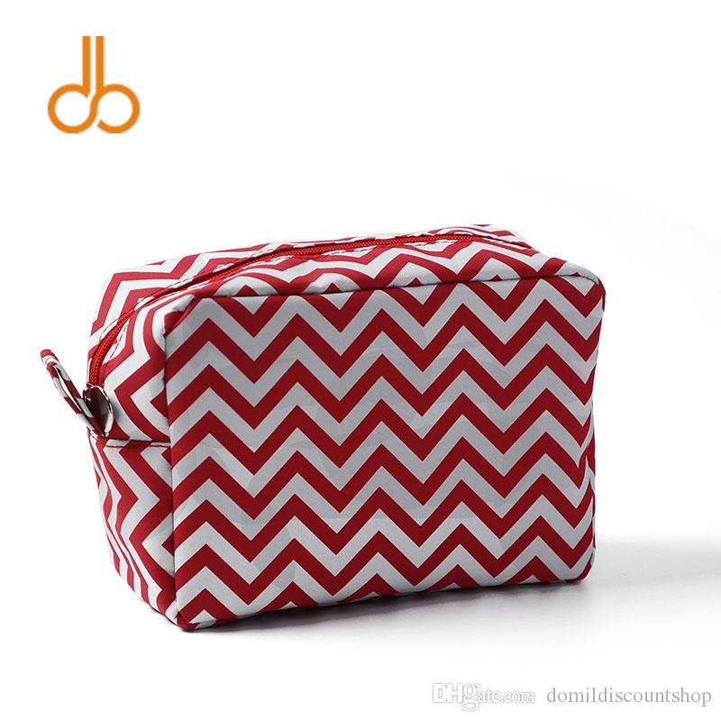 Ready in stock Free Shipping Wholesale Blanks Chevron Cosmetic Bag Zig Zag Make Up Bag Waterproof Toiletry Bag in Multi ColorsDOM103001