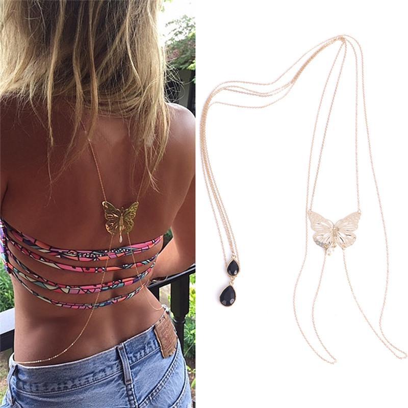 Mode Goldschmetterlings-Bikini Crossover-Taillen-Bauch Schwarz Harness-Körper-Kette Halskette Schmuck