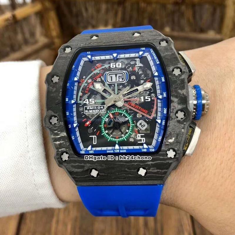 3 Meilleur style RM11-04 Roberto Mancini Carbon Fiber Case Big Date Miyota Autoamtic Mens Watch Skeleton Dial-bracelet en caoutchouc Gents Montres