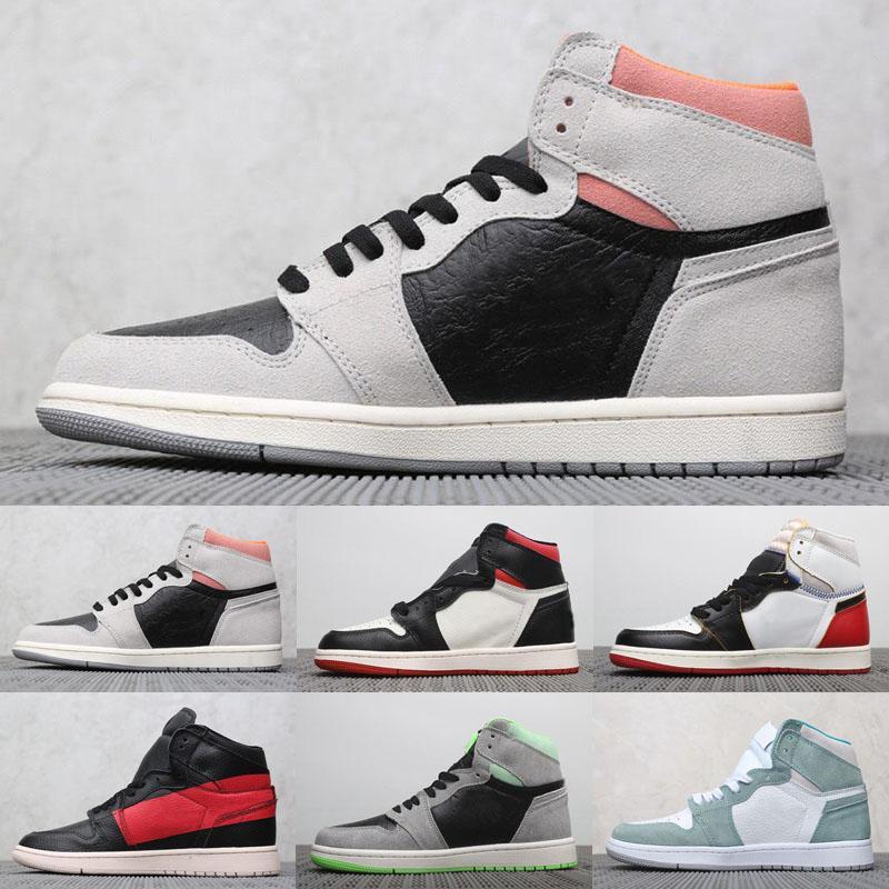 2020 nuevo Alto OG Jumpman 1 Me gris neutro Bred dedo del pie UNC patente de zapatos de los cargadores de los hombres 1s oro del dedo del pie dedo del pie Negro Top 3 camaleón Botas Tamaño 7-13