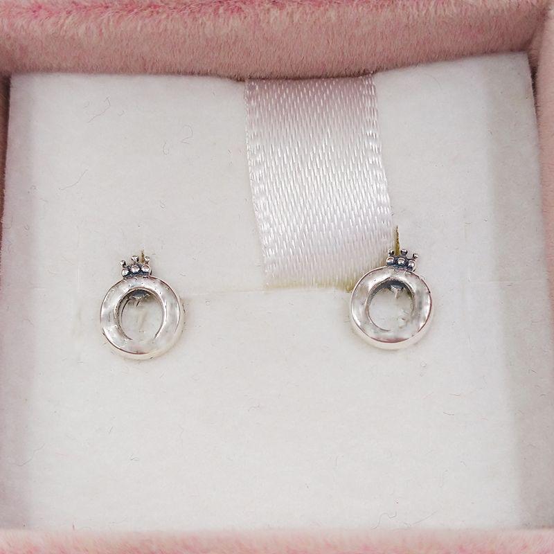 Authentique 925 Sterling Sterling Silver Sterling Crown O Boucles d'oreilles Stud Oreilles Convient aux goujons de style Pandora européen Bijoux 298295