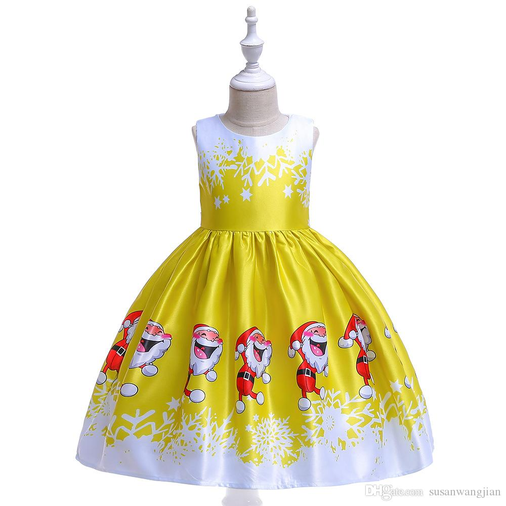 Pretty Cute Printed Snowflake Formal Winter Christmas Princess Party Bomb Red Gold Blue Purple Long maxi Dress For Girl