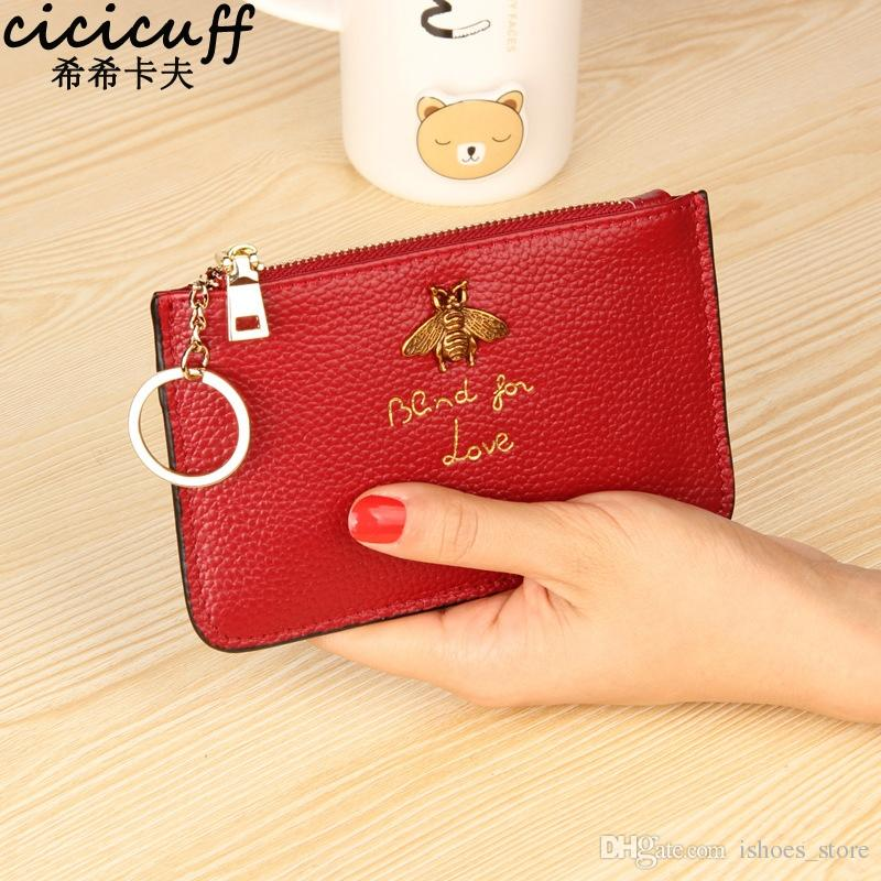 Wine red Coin Pouch with Keyring Women/'s Coin Purse Leather Change Wallet