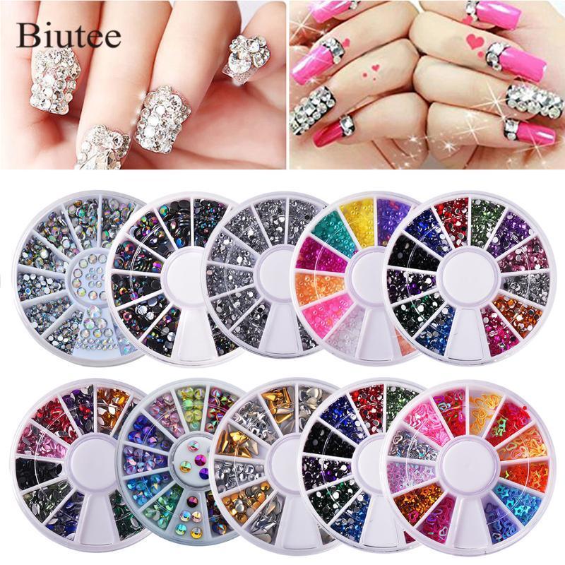 10pcs Biutee / set Nails decoração de unhas Art diamante caixas brilhantes diamantes Acrílico Box várias cores prego Decoração Kit 3D