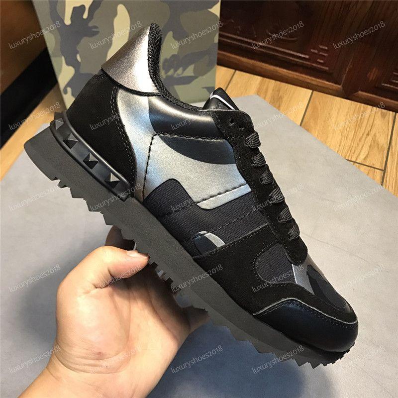 Las nuevas mujeres repleto de estrellas de los zapatos ocasionales de malla de camuflaje cuero de los zapatos con clavos Combo Estrellas Rockrunner metálico con cordones hasta las zapatillas de deporte