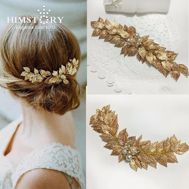 Himstory Handmade Gold Pearl Leaf Tiara Wedding Hair Accessories Jewelry Bridal Headpiece Vintage Hair Accessories Y19051302