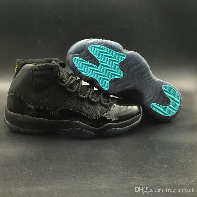 La mejor calidad 11 Negro Gamma Blue Varsity Maize Man Baloncesto Diseñador Zapatos Clásico XI Moda barata Zapatillas deportivas Real fibra de carbono