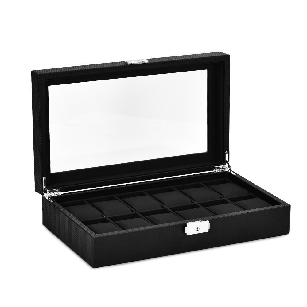 12-Slot Watch Organizer Display Box Kohlefaser Lederschmuck Aufbewahrungskoffer mit Schloss und Glasabdeckung