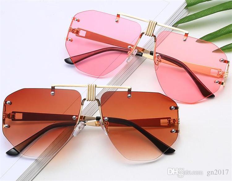 Gözlük Kadınlar Gözlük Anti-UV Kişilik Düzensiz Güneş Gözlüğü Çerçevesiz Gözlükler Moda Çerçeve Güneş Boy Erkekler Gözlük A ++ Hjfab