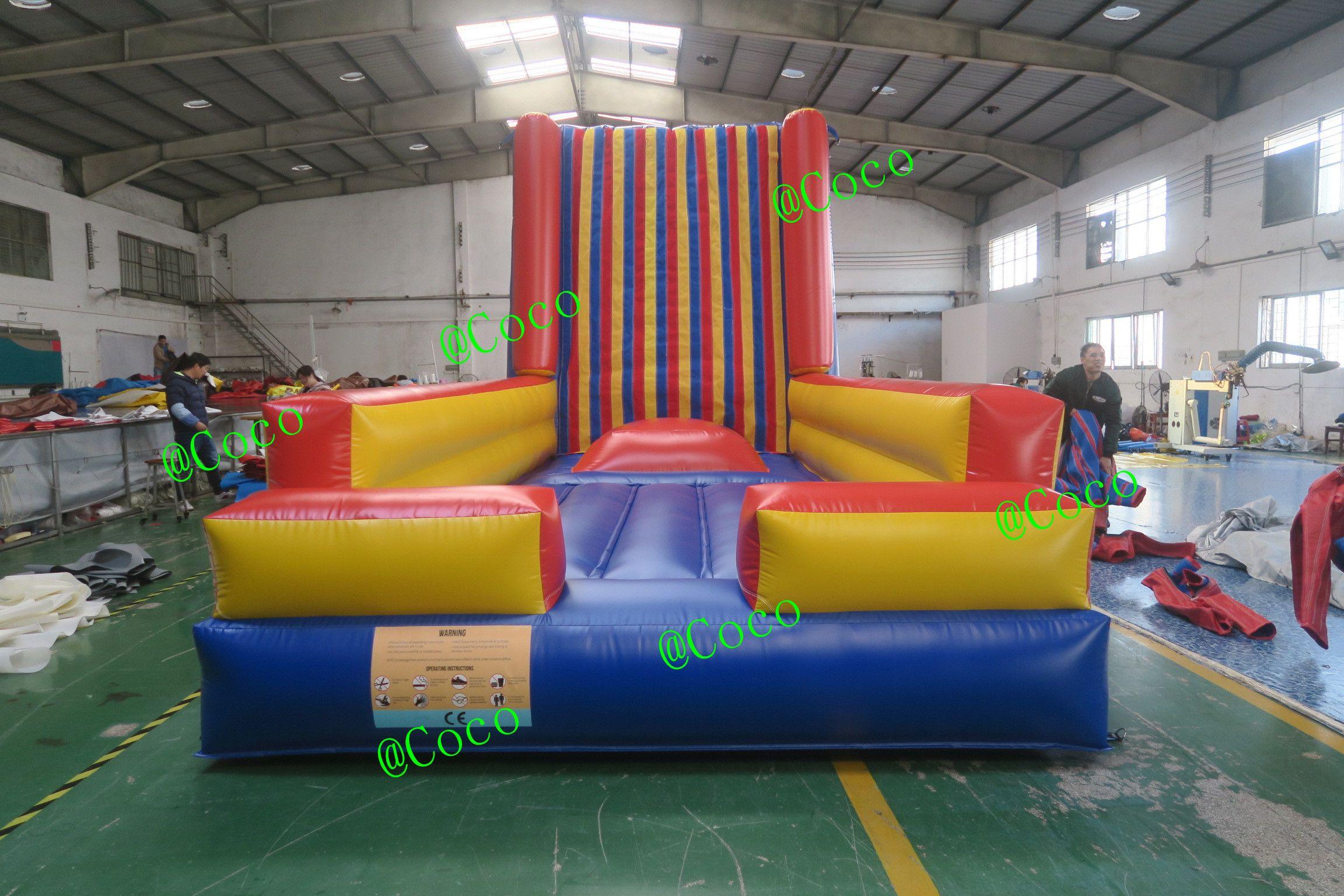 Paredes pegajosas infláveis de 5x3x3.5m / 6x3x3.5mH com terno, parede de escalada do desafio para crianças e adultos
