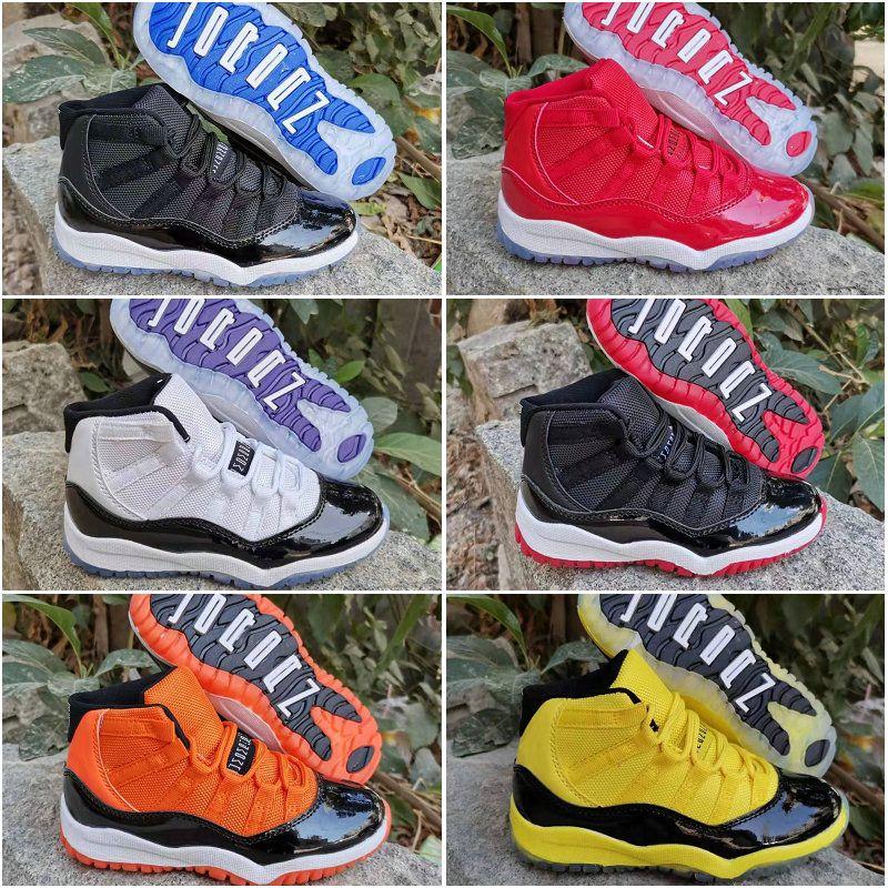 11 Космический джем разводят Конкорд спортзал красный гамма синий оранжевый желтый дети дети баскетбол обувь всячески препятствовать 11С молодежные мальчики девочки спортивные кроссовки 28-35