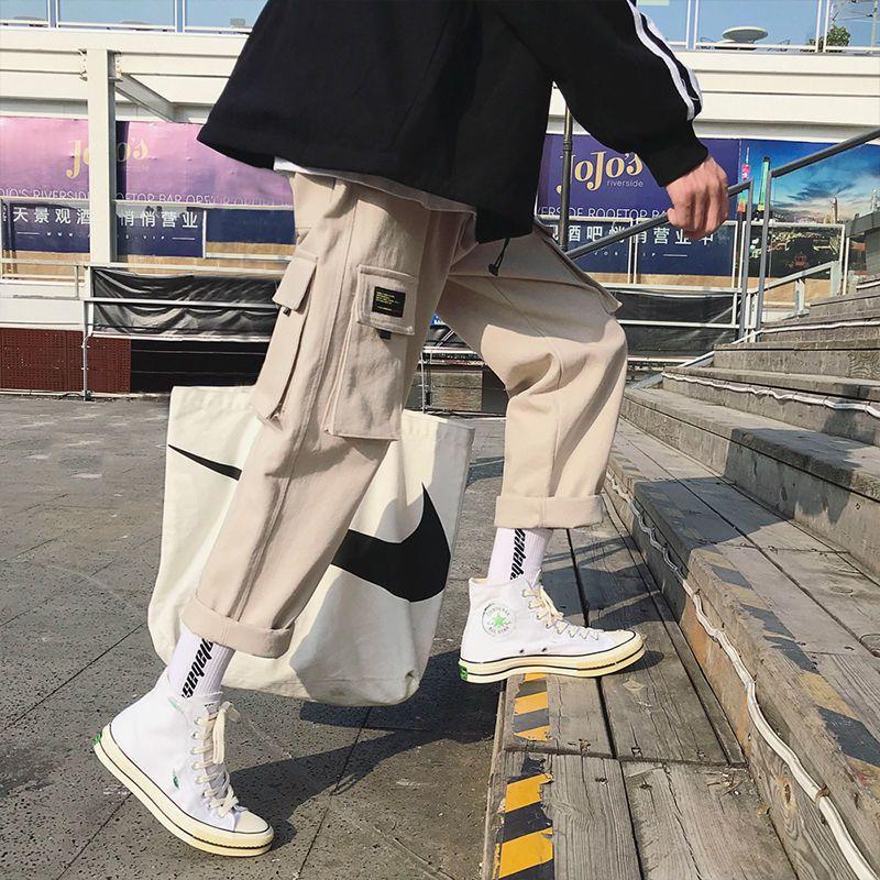 카고 바지 남자 일본 스트리트 바지 남성 힙합 조깅 블랙 느슨한 하라주쿠 트레이닝 복 바지 바지