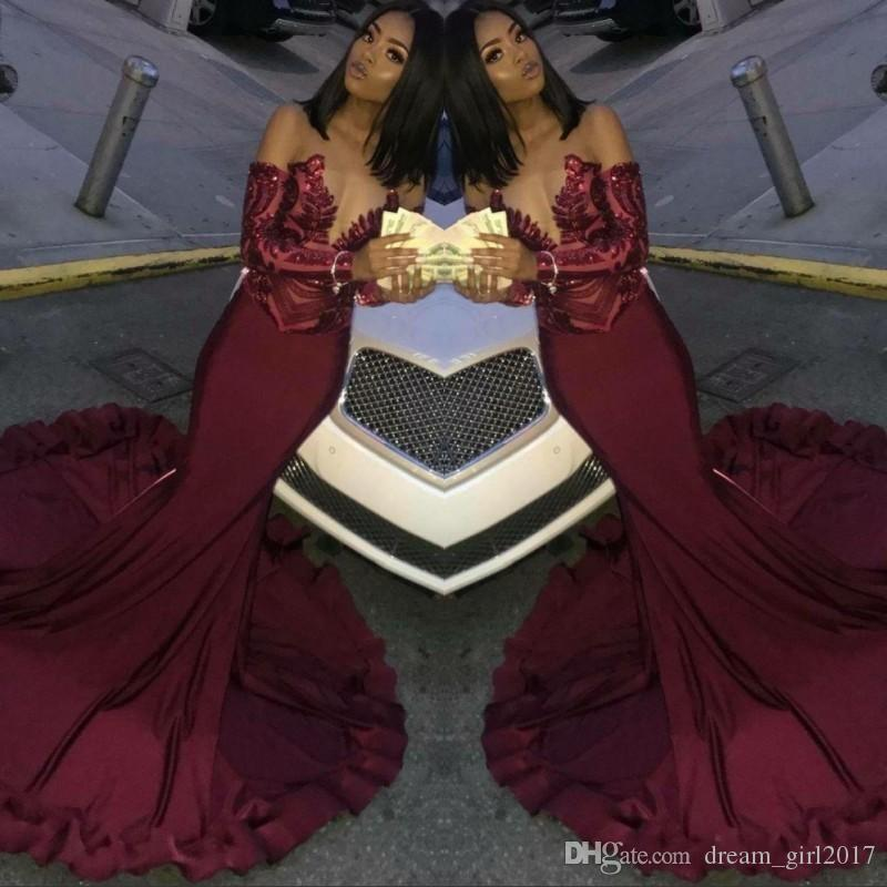 Sirena borgoña africana vestidos de fiesta de baile 2019 mangas largas brillantes encaje formal vestidos de noche robe de soiree