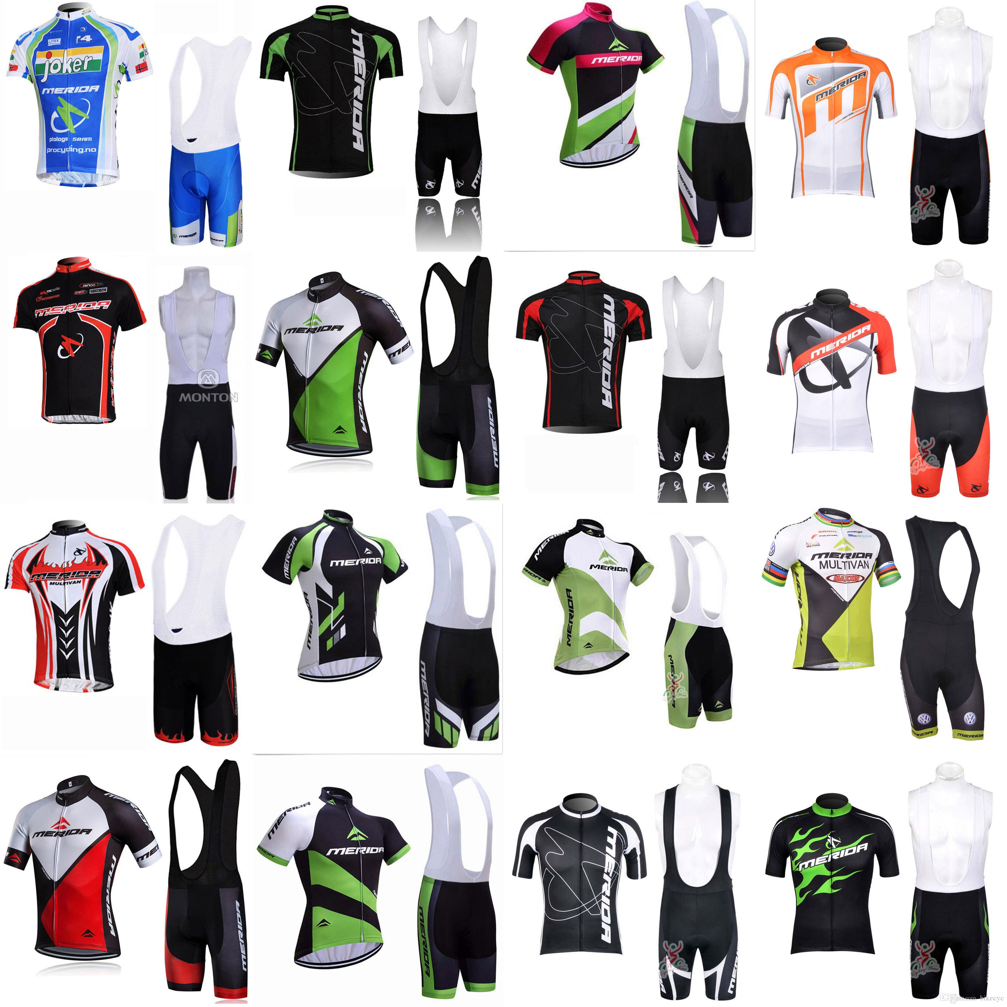 MERIDA Equipo Ciclismo Mangas cortas Jersey (babero) Shorts Sets Fin Thin Mountain Bike Seco Sport Wear C1914