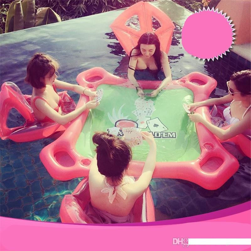 Nuovo stile gonfiabile piscina galleggiante del PVC di anello di nuoto della spiaggia di estate tavolo di gioco per adulti Acqua tappeti gioco Galleggianti Toy vendita calda 160zs Ww