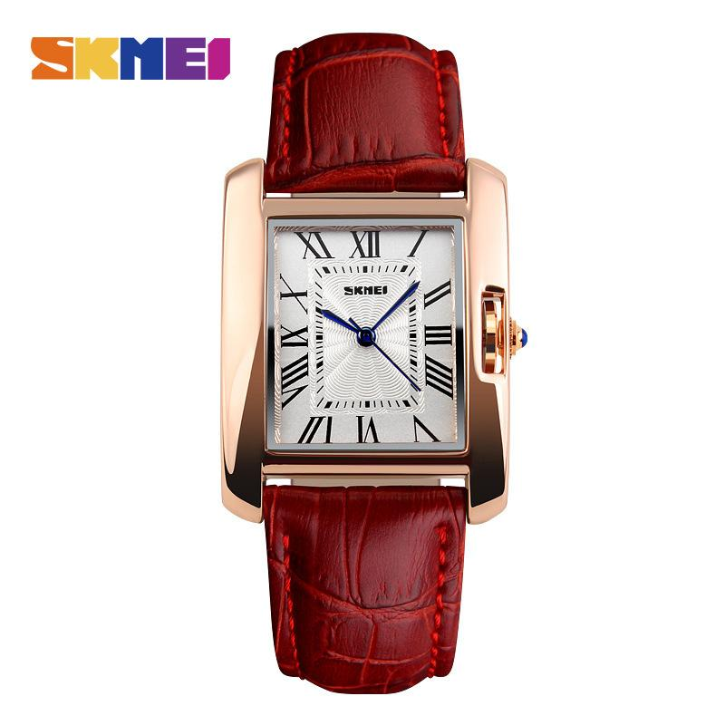 ماركة أزياء المرأة عارضة الكوارتز ساعة أنيقة الرجعية سيدة الساعات الإناث الجلود حزام المعصم 1085