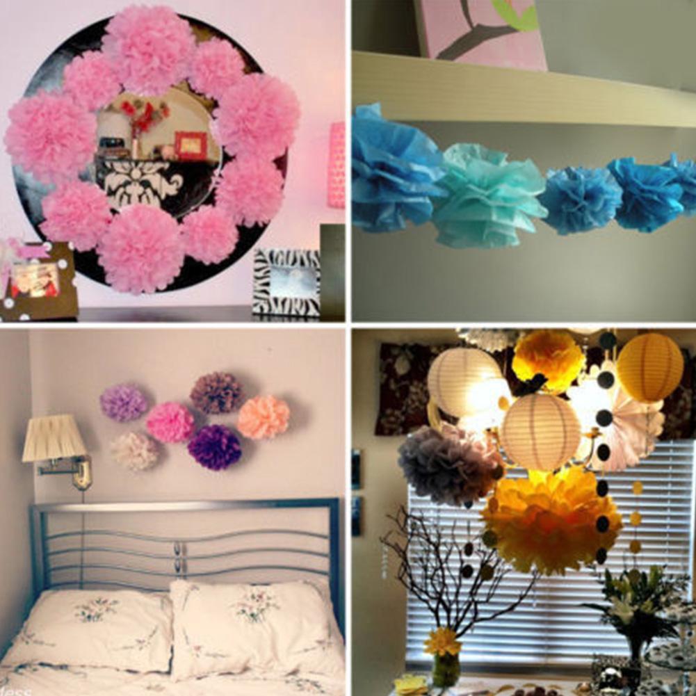 "10pc Mix 6\\\"" Circle Garland &Tissue Pom Poms Paper Flower Balls Hanging Decor Showers Party Birthday Wedding"