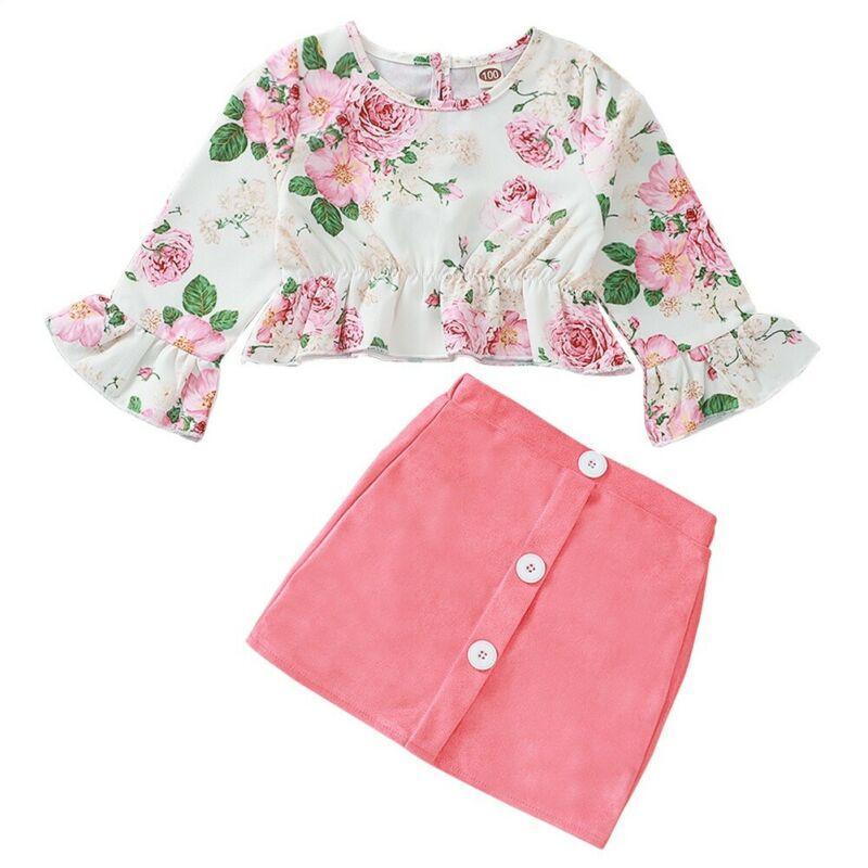 Adorável roupa do bebé Outfits florais criança roupa dos miúdos Top manga comprida Mini Saia 2pcs terno recém-nascido Roupa Set Crianças