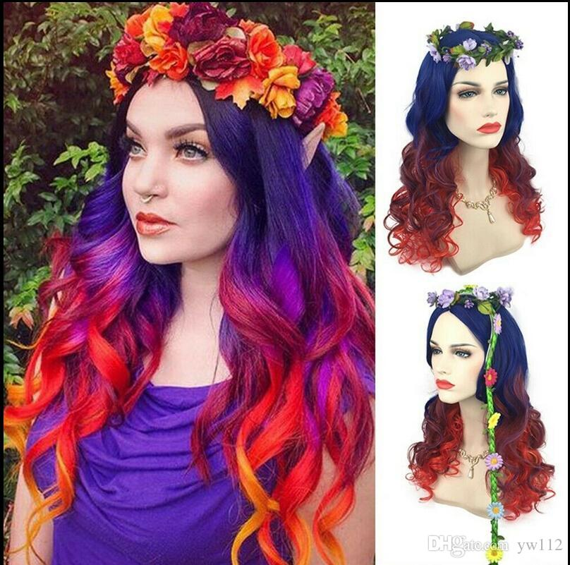 Mavi Kırmızı Renkli Kadın Saç Uzun Kıvırcık Dalgalı Kıvırcık Peruk Cosplay Yüksek Sıcaklık Peruk